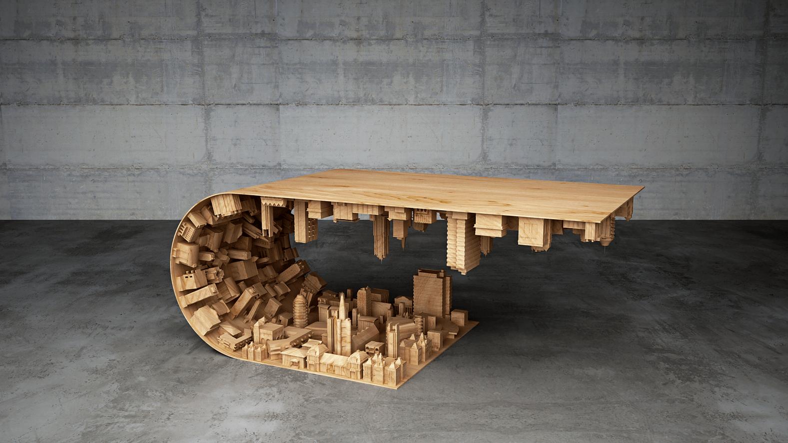 необычный журнальный стол из дерева