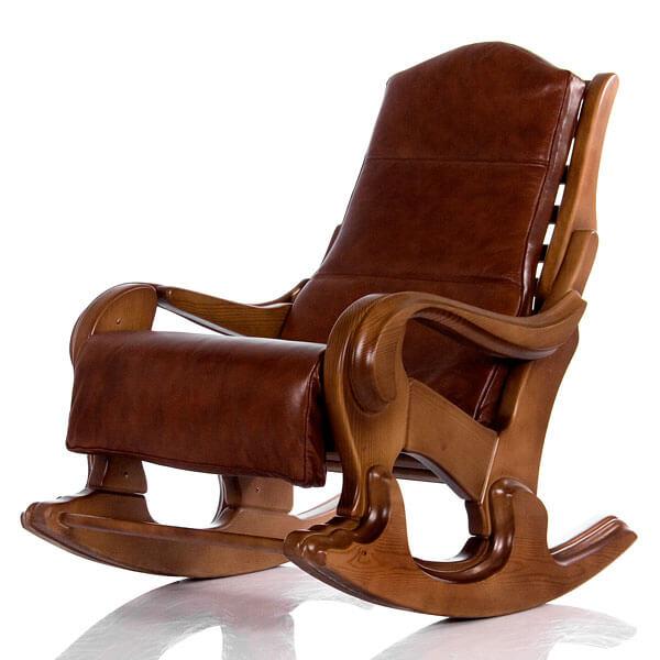 Кресло качалка с кожаной спинкой