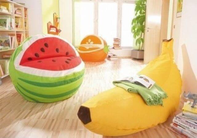 Детское кресло мешок в форме фруктов