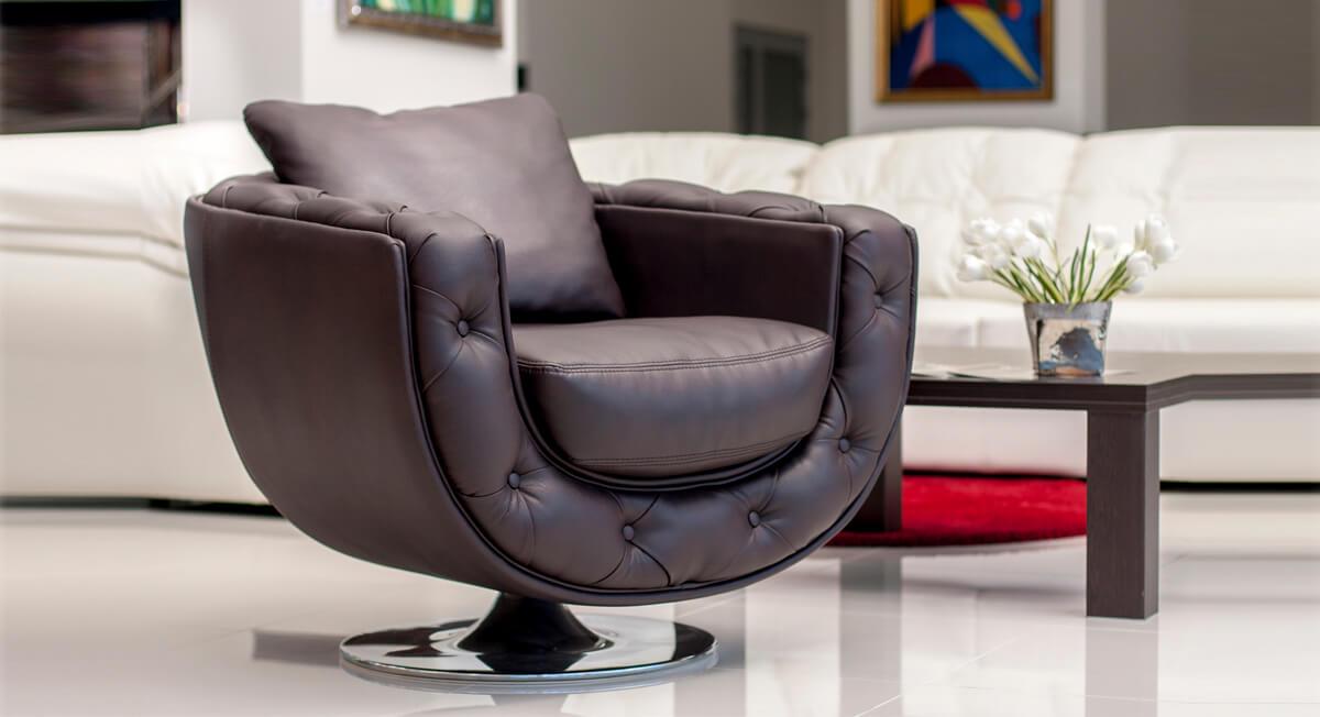 Дизайнерское кресло из кожи