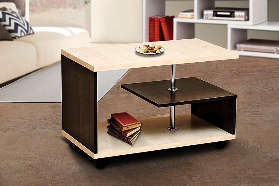 Прямоугольный журнальный стол на колесиках
