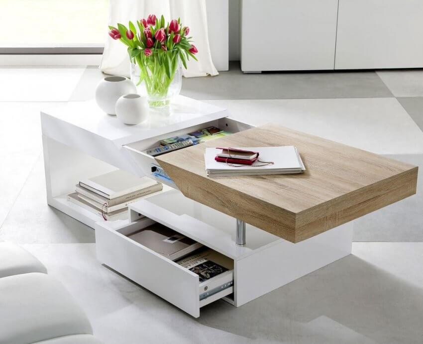 Журнальный стол трансформер с выдвижным ящиком
