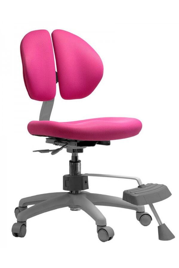 Розовое ортопедическое кресло с подставкой для ног