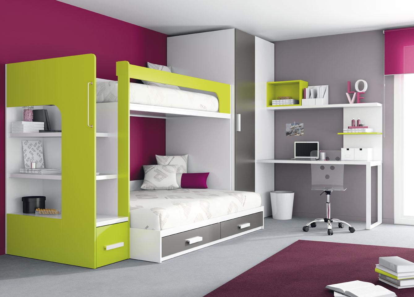 комната подростков с двухъярусной кроватью
