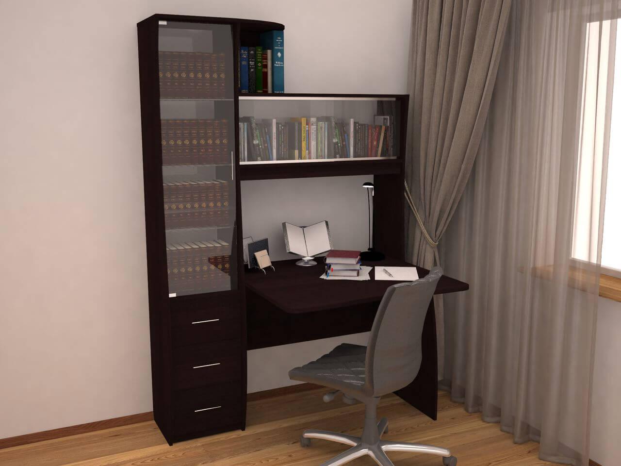Угловой компьютерный стол с пеналом