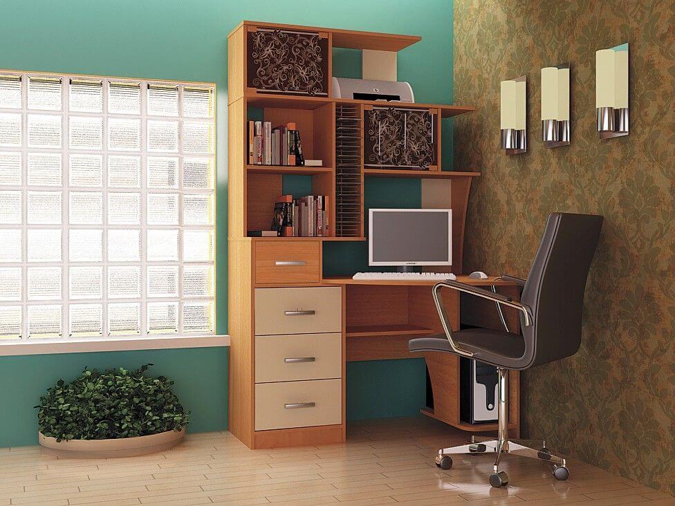 Фото углового компьютерного стола с пеналом