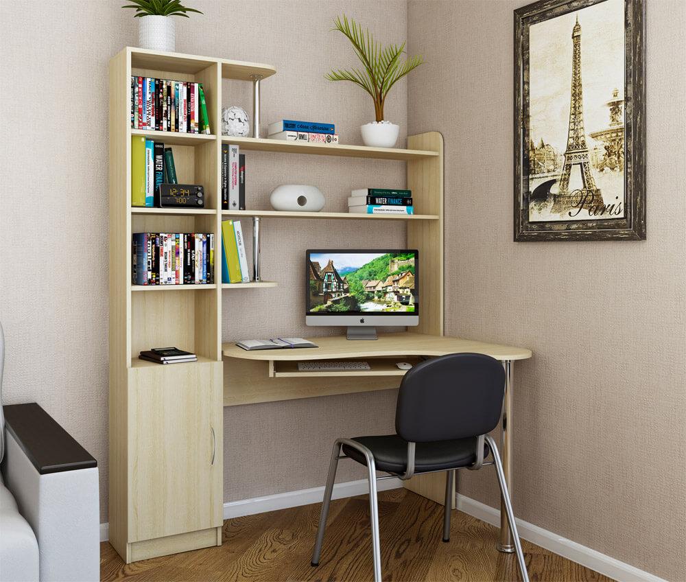 Фото углового компьютерного стола с пеналом бежевого цвета