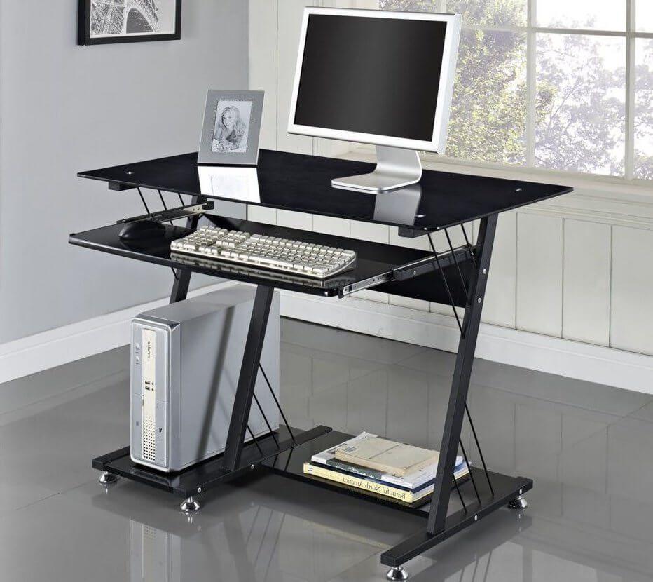 Компьютерный стол с полками черного цвета