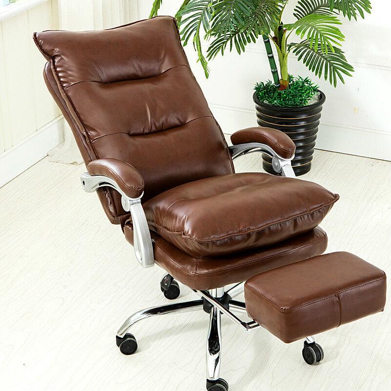 Компьютерное кресло из натуральной кожи с подставкой для ног