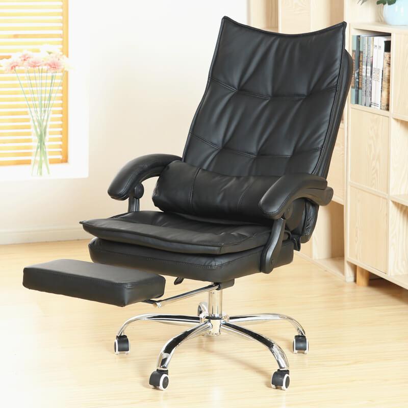 Кожаное компьютерное кресло с подставкой для ног