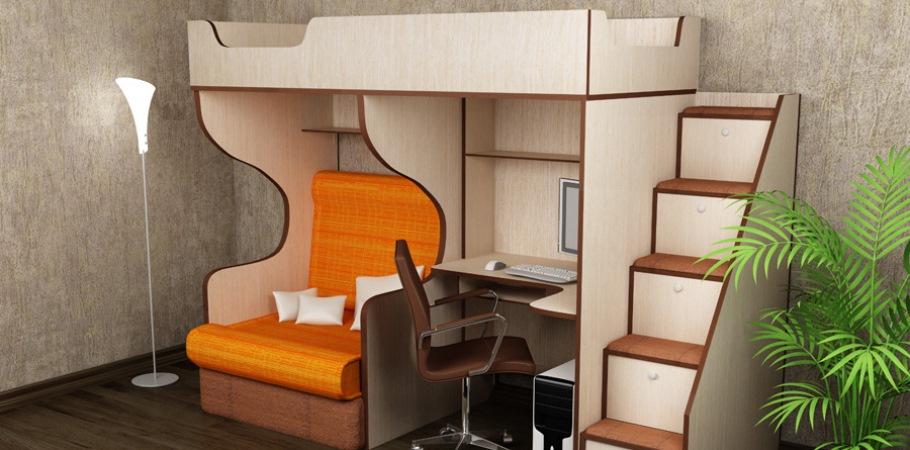 кровать чердак с маленьким столом и диваном