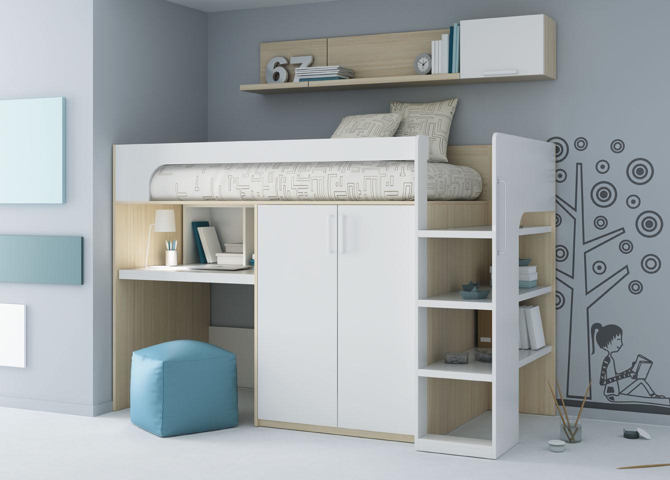 кровать чердак со шкафом внизу