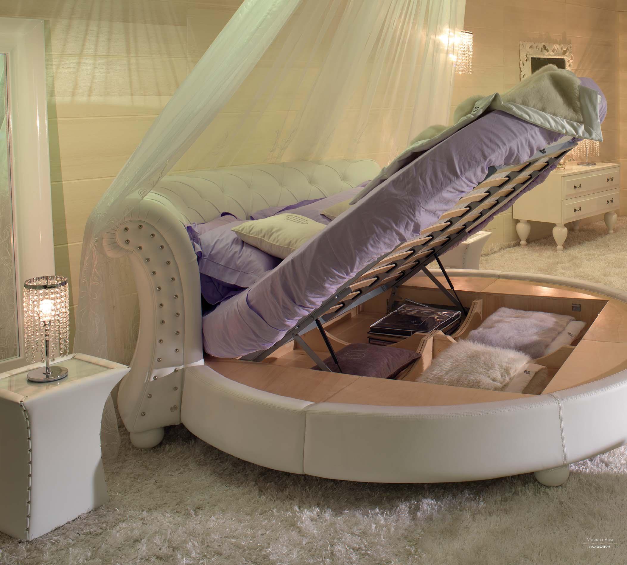 круглая кровать с подъемным основанием
