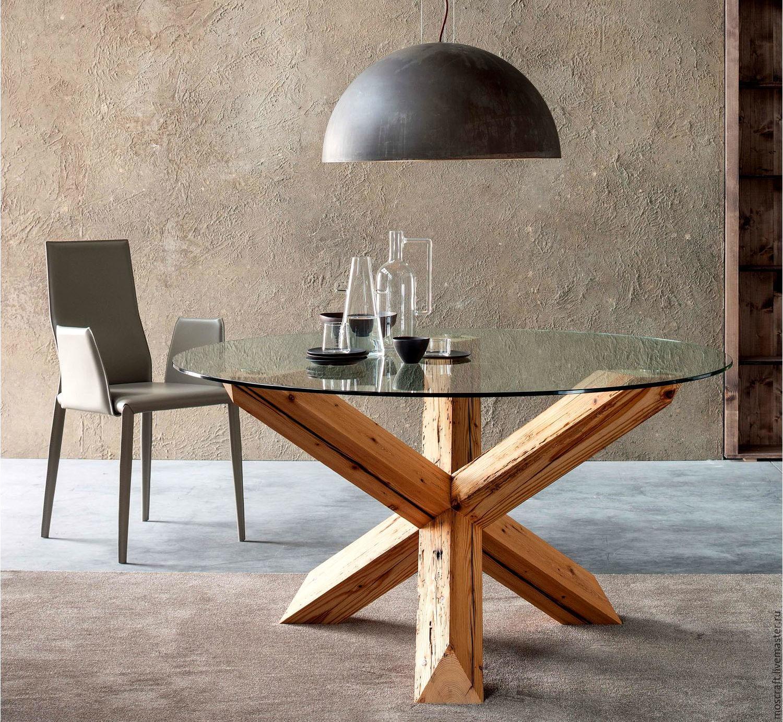 Круглый кухонный стол с стеклянной столешницей