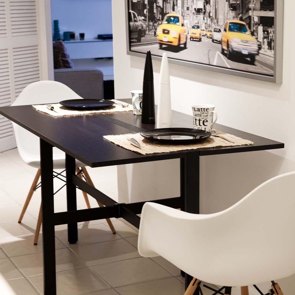 Стол трансформер для маленькой кухни черного цвета