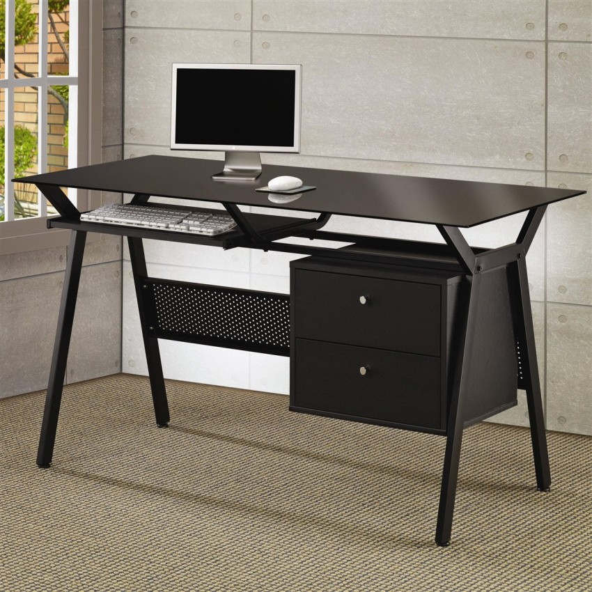 Фото черного металлического компьютерного стола