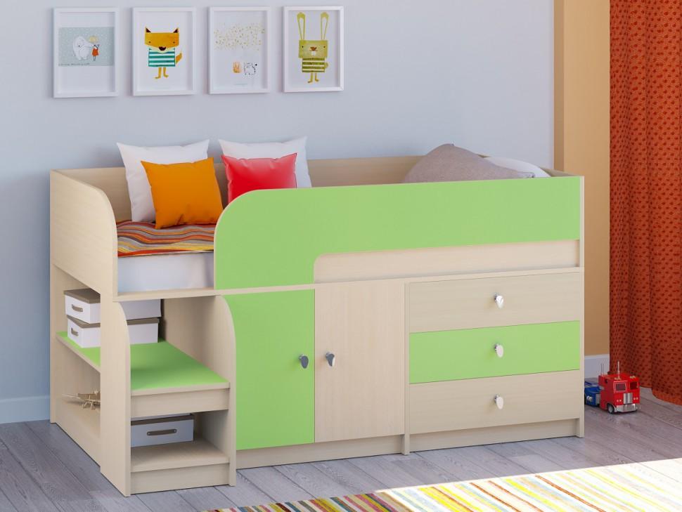 низкая детская кровать чердак