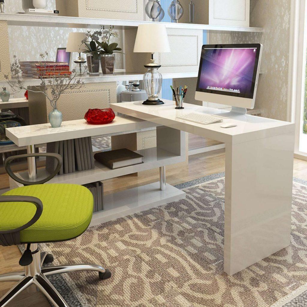 Угловой письменный стол белого цвета
