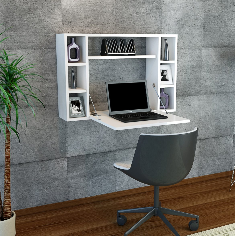 Белый подвесной компьютерный стол