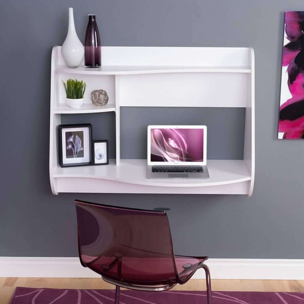 Подвесной компьютерный стол с полками белого цвета