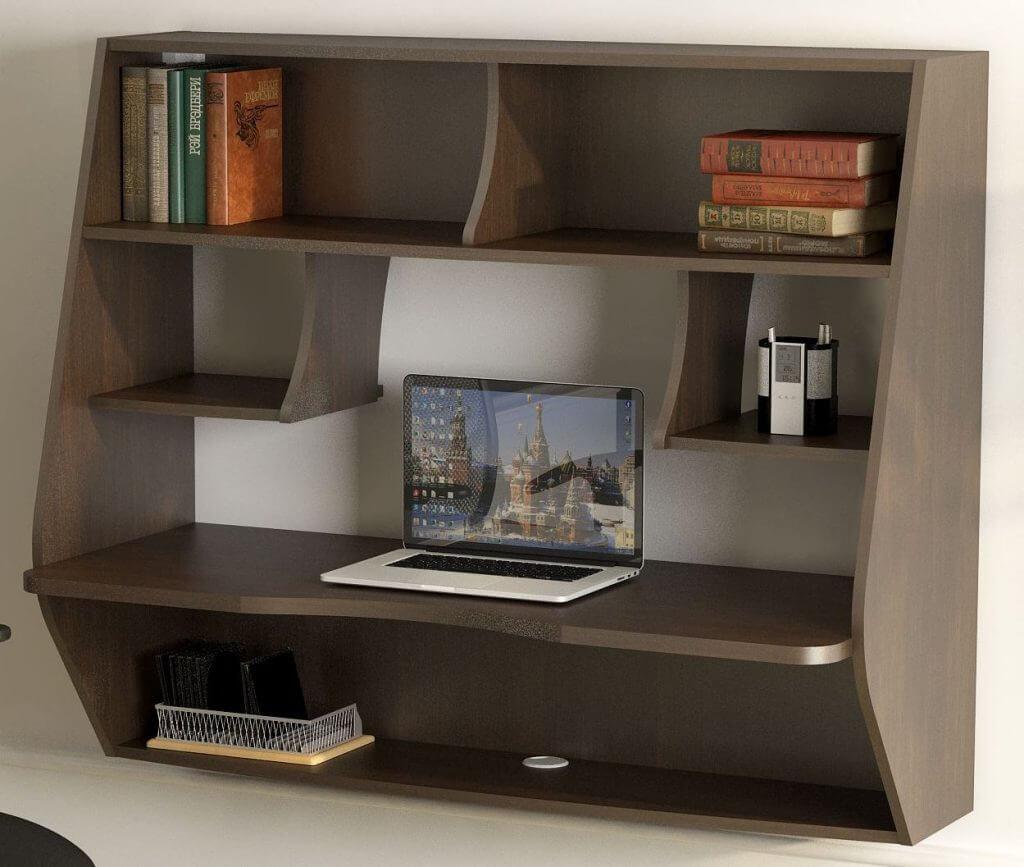 Подвесной компьютерный стол коричневого цвета