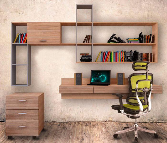 Подвесной компьютерный стол с полками и выдвижными ящиками