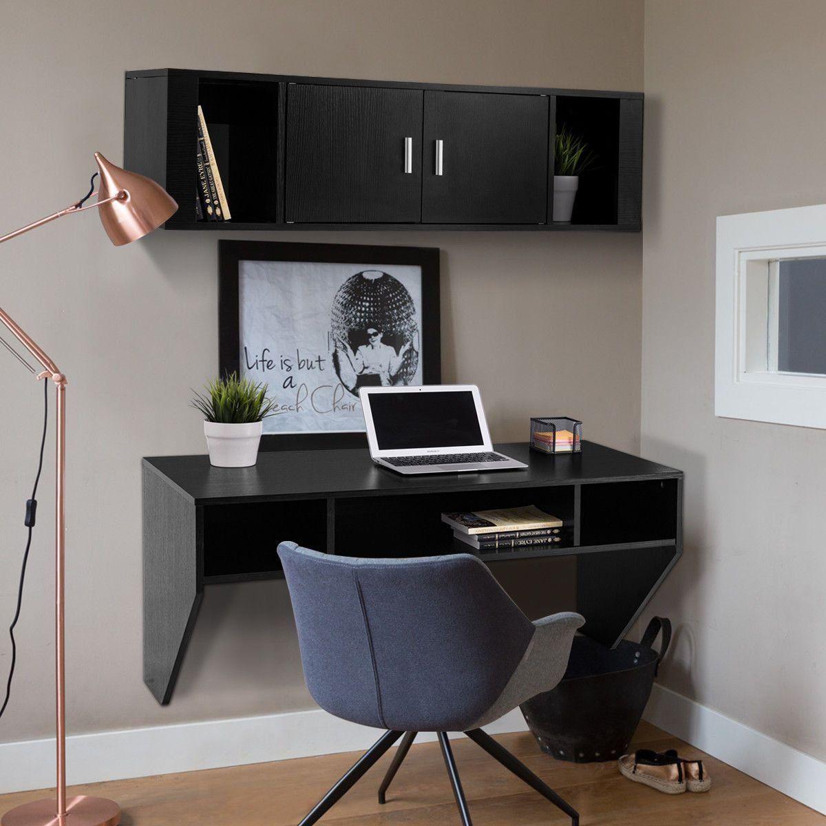 Подвесной компьютерный стол черного цвета