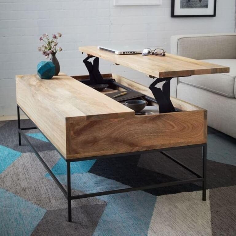 Деревянный подъёмный журнальный стол