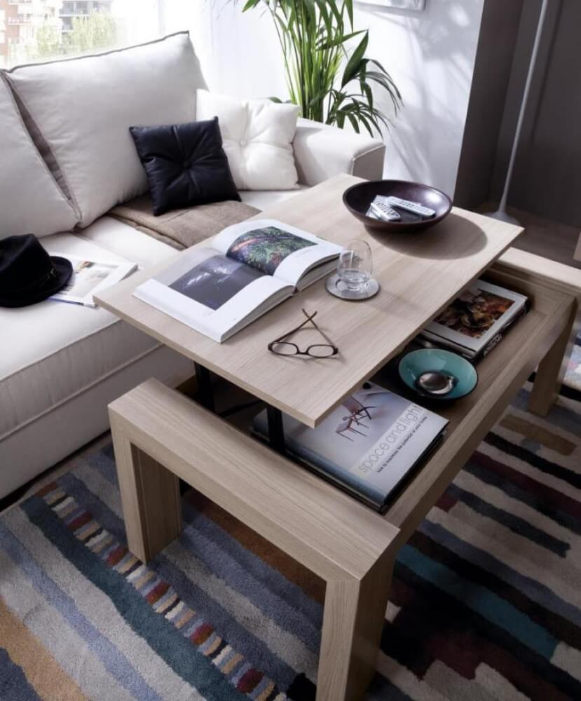 Фото подъёмного журнального стола в гостиной