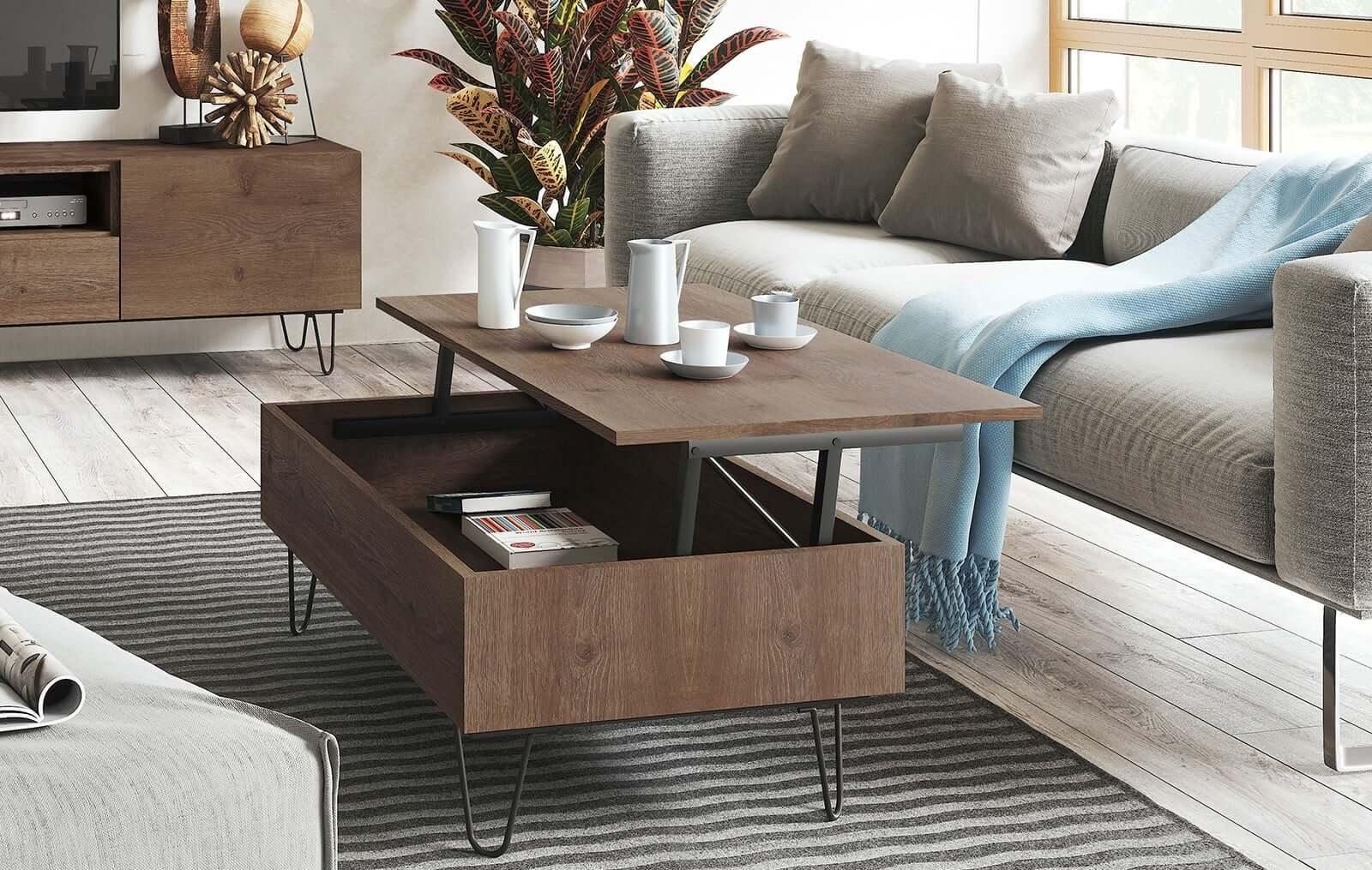 Подъёмный журнальный стол из натурального дерева