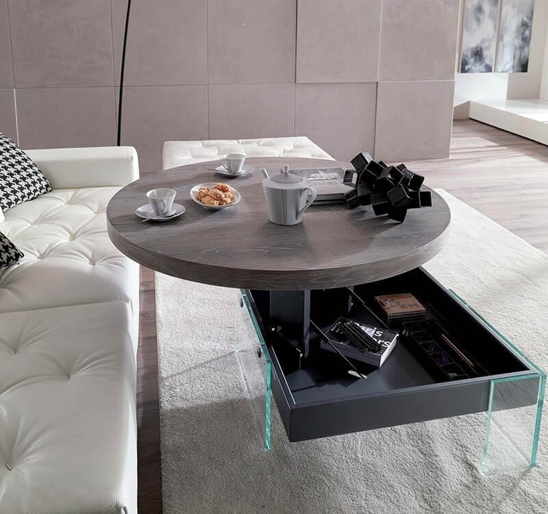 Подъёмный журнальный стол с круглой столешницей