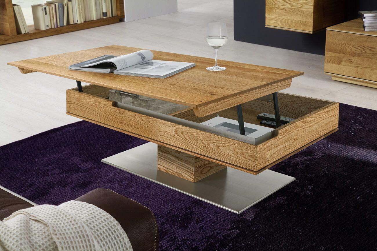 Фото подъёмного журнального стола из натурального дерева