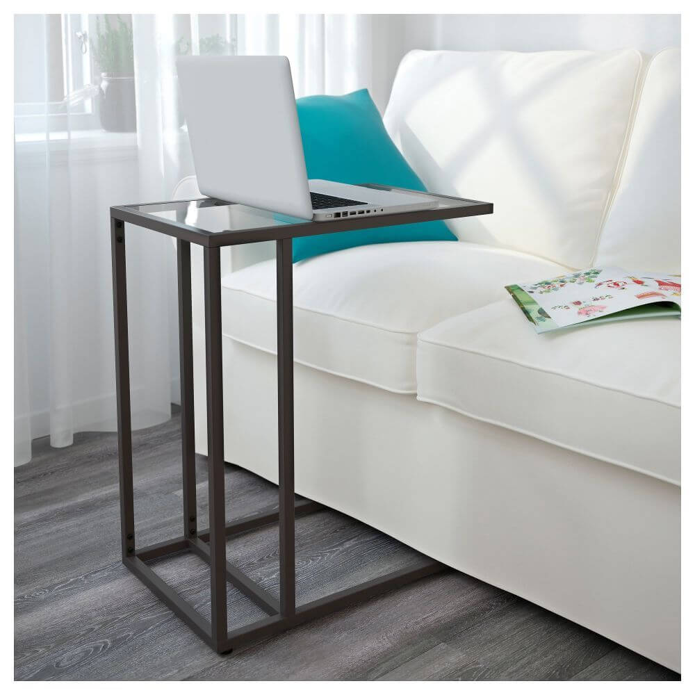 Прикроватный стол для ноутбука с стеклянной столешницей