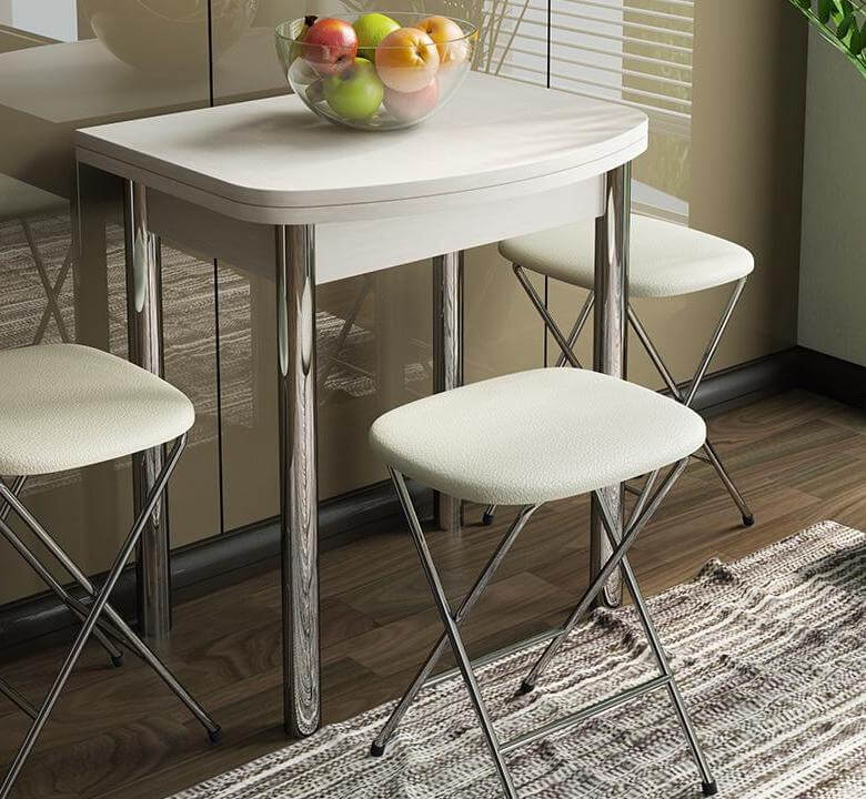 Белый раскладной кухонный стол