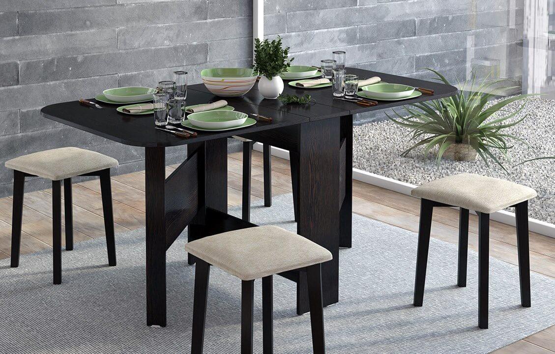 Раскладной кухонный стол черного цвета