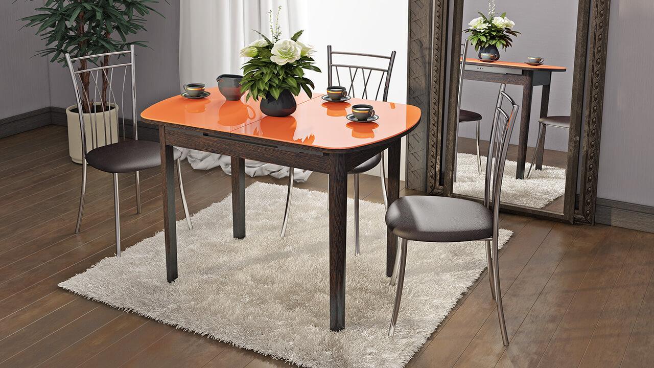 Раскладной стеклянный кухонный стол с оранжевой столешницей