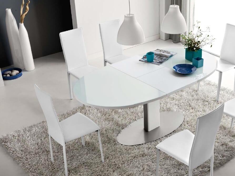 Раскладной стеклянный кухонный стол белого цвета