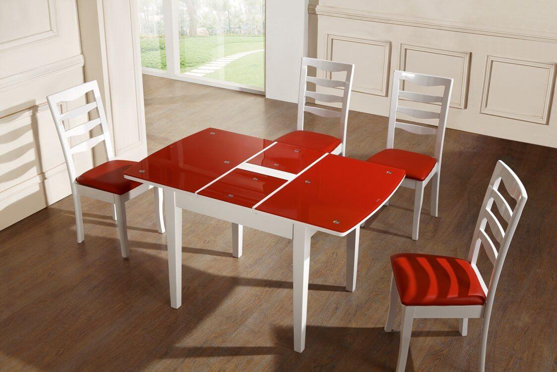 Красный раскладной стеклянный кухонный стол
