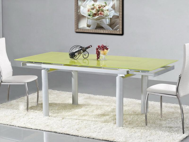 Раскладной стеклянный кухонный стол салатового цвета