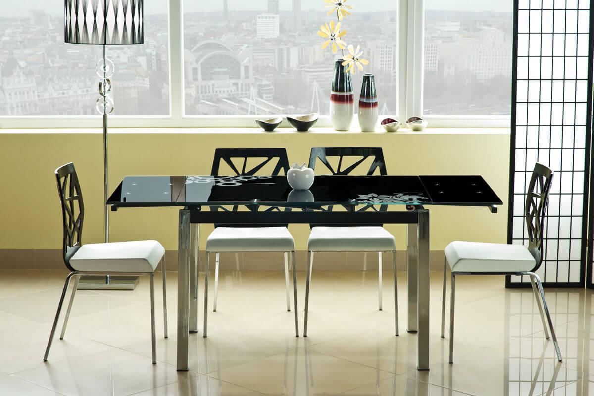 Черный раскладной стеклянный кухонный стол