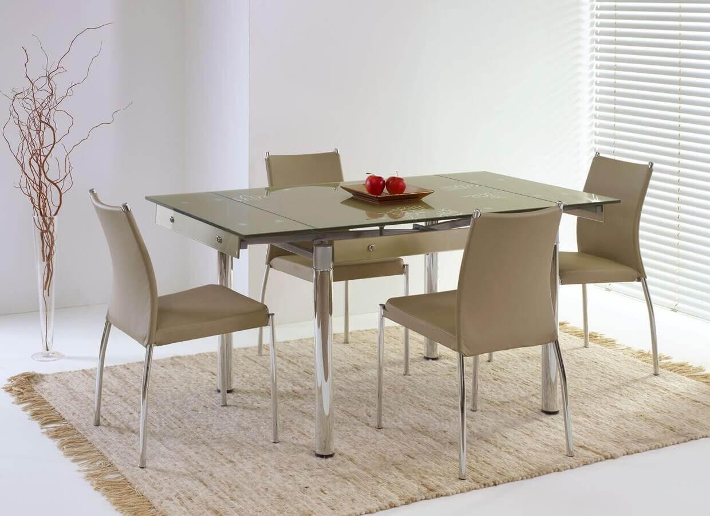 Раскладной стеклянный кухонный стол бежевого цвета