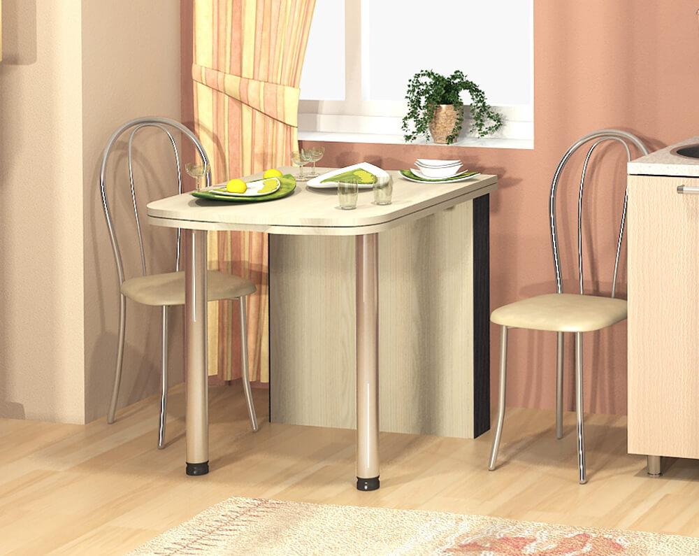 Раскладной пристенный стол для маленькой кухни