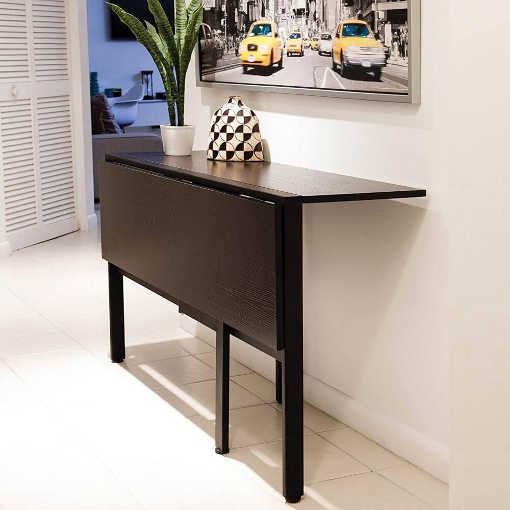 Раскладной стол для маленькой кухни черного цвета
