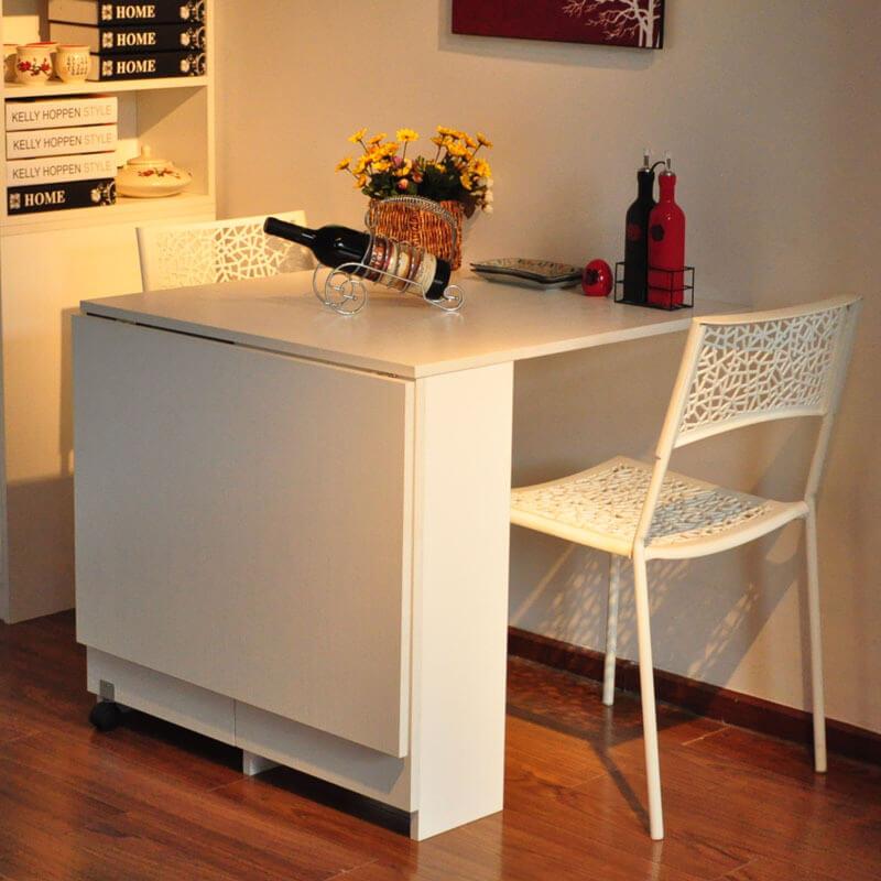Фото стола трансформера для маленькой кухни белого цвета