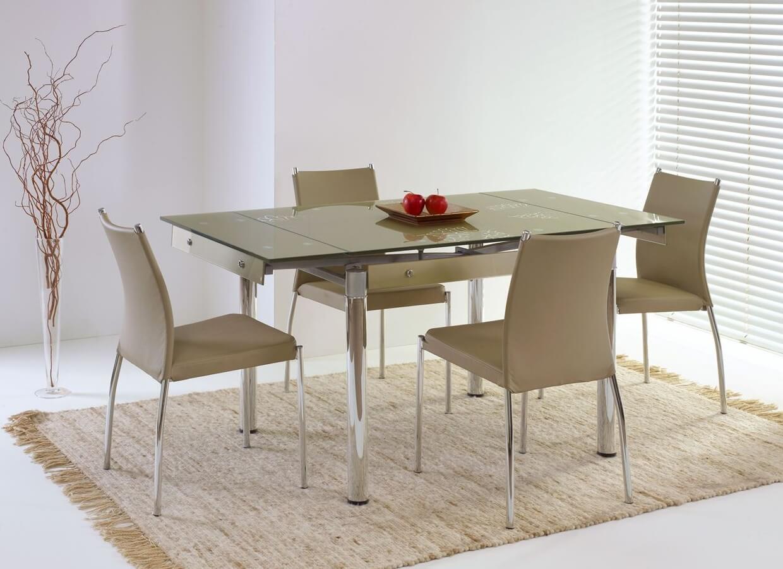 Раздвижной кухонный стол с стеклянной столешницей