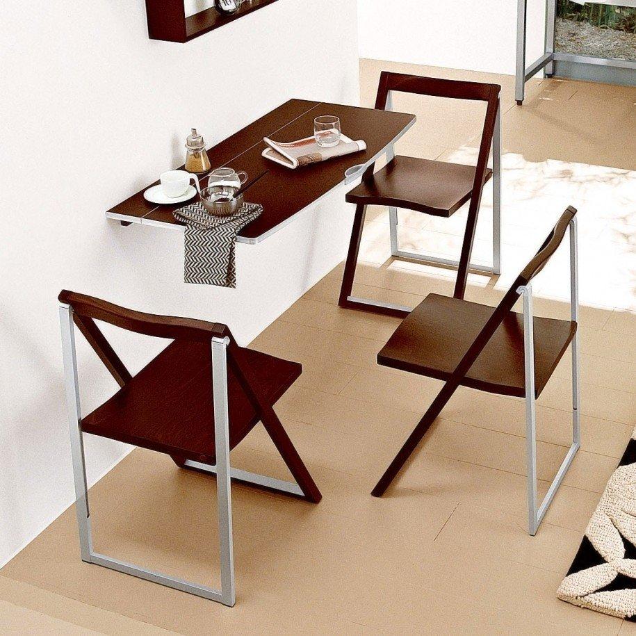 Стол трансформер для маленькой кухни коричневого цвета