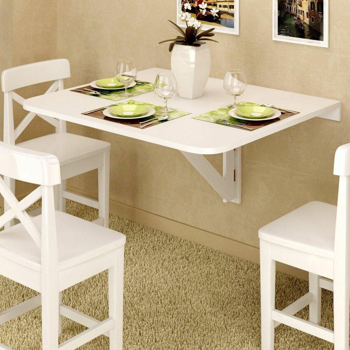 Стол трансформер для маленькой кухни с подъемной столешницей