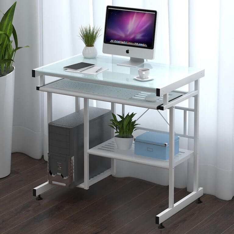 Стеклянный компьютерный стол белого цвета