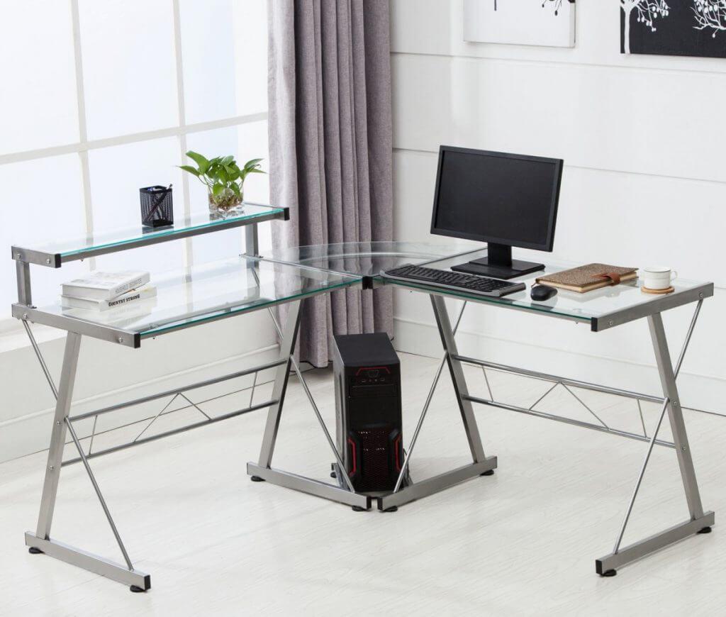 Угловой стеклянный компьютерный стол