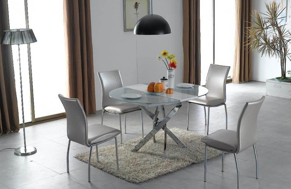 Овальный стеклянный кухонный стол